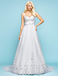 Vestido de Noiva - Marfim Trapézio/Princesa Coração Cauda Corte Tule Tamanhos Grandes