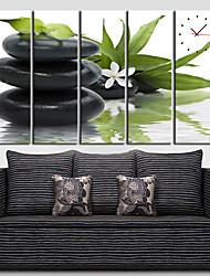 vert horloge murale de la feuille de style moderne dans la toile 5pcs
