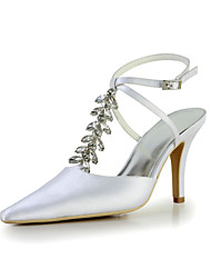 Elegant Satin Stiletto Heel Pumps with Rhinestone Wedding Shoes(More Colors)