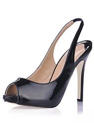 talón de estilete sandalias del slingback zapatos de charol de las mujeres