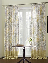 (Two Panels) Ginkgo Leaf Energy Saving Lined Curtain