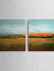 Hand Painted Oil Painting Landscape Village House  with Stretched Frame Set of 2 1307-LS0386