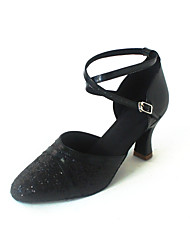 Customizable Women's Dance Shoes Modern Leatherette/Paillette Customized Heel Black