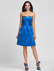 Knee-length Satin Bridesmaid Dress-Plus Size / Petite A-line / Princess Strapless / Sweetheart