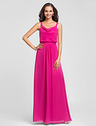 Floor-length Chiffon Bridesmaid Dress Sheath / Column Straps Plus Size / Petite with Draping