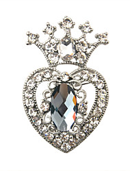 Alloy Zircon Hollow-out Heart Royal Crown Pattern Brooch (Silver)
