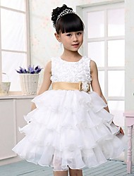 A-line / Ball Gown / Princess Knee-length Flower Girl Dress - Tulle Sleeveless Scoop with Bow(s)