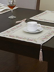 Beige Lin/Viscose Carré Sets de table