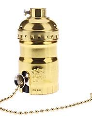 E26 Golden color Base Bulb Socket Lamp Holder with Switch