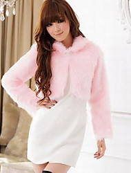 Long Sleeve Turndown Collar Faux Fur Casual/Party Jacket