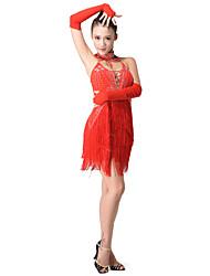 Танцевальная одежда полиэстера с кистями Латинской танец платье построить в бюстгальтер включает перчатки и трусики (другие цвета)