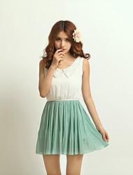 de las mujeres mini vestido, gasa verde linda / ocasional
