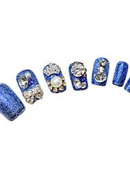 24pcs Blue Glitter Poder Rhinestone Crown enchido Dicas Curtas unhas com cola