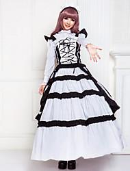 Palabra de longitud sin mangas de algodón Negro Estilo Victoria Shiro Lolita vestido de Kuro