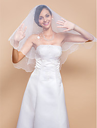 One-tier Elbow Veil With Pencil Edge & Pearls(More Colors)