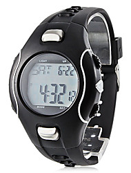 Men's Electro Luminescent Style Rubber Digital Automatic Wrist Heart Rate Monitor Watch (Black)