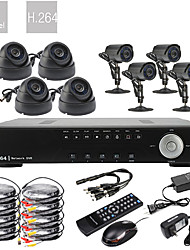 Ultra 8CH Realtime H.264 600TVL High Definition CCTV DVR Kit (8 Waterdicht Dag Nacht CMOS-camera's)