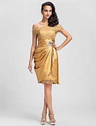 TS Couture® Cocktail Party / Prom Dress - Gold Plus Sizes / Petite Sheath/Column Off-the-shoulder Short/Mini Lace / Stretch Satin