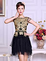 JEMEN ROSE Mandel Blume vorne Deco Black Mesh Kleid