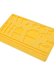 DIY Baking Silicone Candle Pattern Shaped Cake Biscuit Cookie Mold (Random Color)