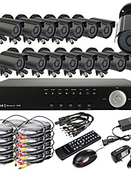 Ultra DIY 16CH Realtime H.264 CCTV DVR Kit (16pcs 420TVL waterdichte nachtzicht CMOS camera's)