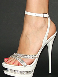 White PU Leather 4cm Platform 14cm Stiletto Heel Women's Sandals with Rhinestone