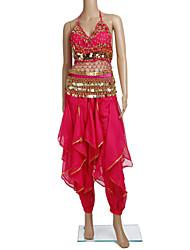 Dancewear chiffon com beading desempenho lantejoulas barriga Outfits dança para senhoras (mais cores)