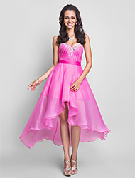 Formal Evening / Prom / Sweet 16 Dress - Fuchsia Plus Sizes / Petite A-line Sweetheart / Strapless Asymmetrical / Knee-length Organza