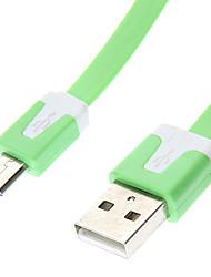 USB A macho a Micro USB macho tipo plana Green (1M)