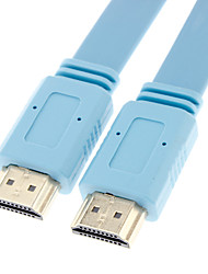 HDMI V1.4 macho a HDMI V1.4 macho Cable Flat Tipo Glod azul-plateado para Smart LED HDTV / Apple TV / Blu-Ray DVD (0,5 m)