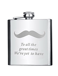 Gift Groomsman Personalized Stainless Steel 6-oz Flask - Moustache