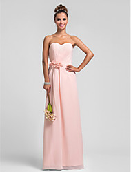 Floor-length Chiffon Bridesmaid Dress Sheath / Column Sweetheart Plus Size / Petite with Flower(s) / Side Draping