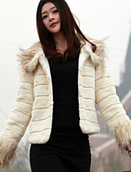 Long Sleeve Turndown Collar Faux Fur Party/Casual Jacket(More Colors)