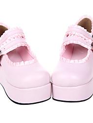 Handmade Pleated Trim PU Leather 6cm Platform Sweet Lolita Shoes