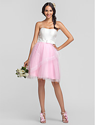 Knee-length Tulle/Taffeta Bridesmaid Dress - Ivory Plus Sizes A-line/Princess Strapless/Sweetheart