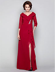 Dress - Ruby Sheath/Column V-neck Floor-length Chiffon