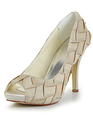 Bridal Satin Stiletto Heel Peep Toe Pumps with Folds Wedding/Special Occasion Shoes(More Colors)