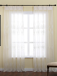 Two Panels Curtain Country , Leaf Polyester Material Sheer Curtains Shades Home Decoration For Window