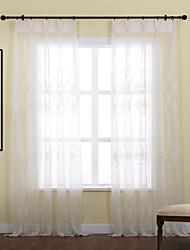 Dois Painéis Tratamento janela Rústico , Folha Poliéster Material Sheer Curtains Shades Decoração para casa For Janela