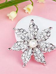 Banhado completa Rhinestone Flower Pearl White Broche