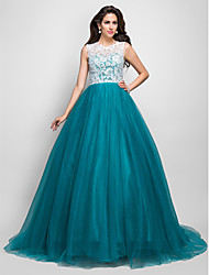 A-line Princess Jewel Sleeveless Sweep/Brush Train Beading Lace And Tulle Evening/Prom Dress With Buttons