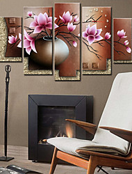 Country Style Lotus Wall Clock In Canvas 5pcs