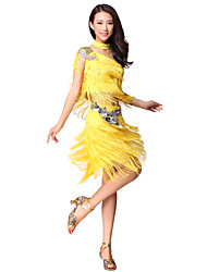 Performance Dancewear Polyester With Rhinestone & Tassels Latin Dance Outfits for Ladies(More Colors)