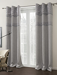 (One Panel) Modern Solid Grey Room Darkening Curtain