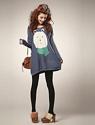 Women's Fat Rabbit Print Loose Sweater