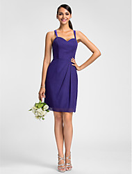 Dress Sheath / Column Spaghetti Straps Knee-length Chiffon with Side Draping