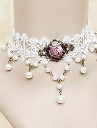Handmade Branco Fuchsia Lace Rosa Princesa Lolita Colar com pérolas