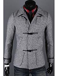 Unique Horn Button Slim Woolen Coat