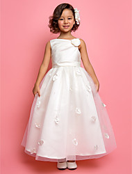 Lanting Bride A-line / Princess Ankle-length Flower Girl Dress - Satin / Tulle Sleeveless One Shoulder withBeading / Flower(s) / Sash /