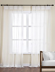 One Pair  Off White Polyester Sheer Curtain